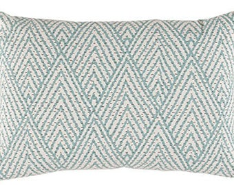 Pillow Cover - Natural - Sea Foam Green - Designer Fabric - Lacefield - Geometric - Decorative - 12x16 - Lumbar pillow cover
