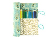 Pencil Case - Peacock - jewel tone pencil roll, Bible Journaling, adult coloring, colored pencil holder