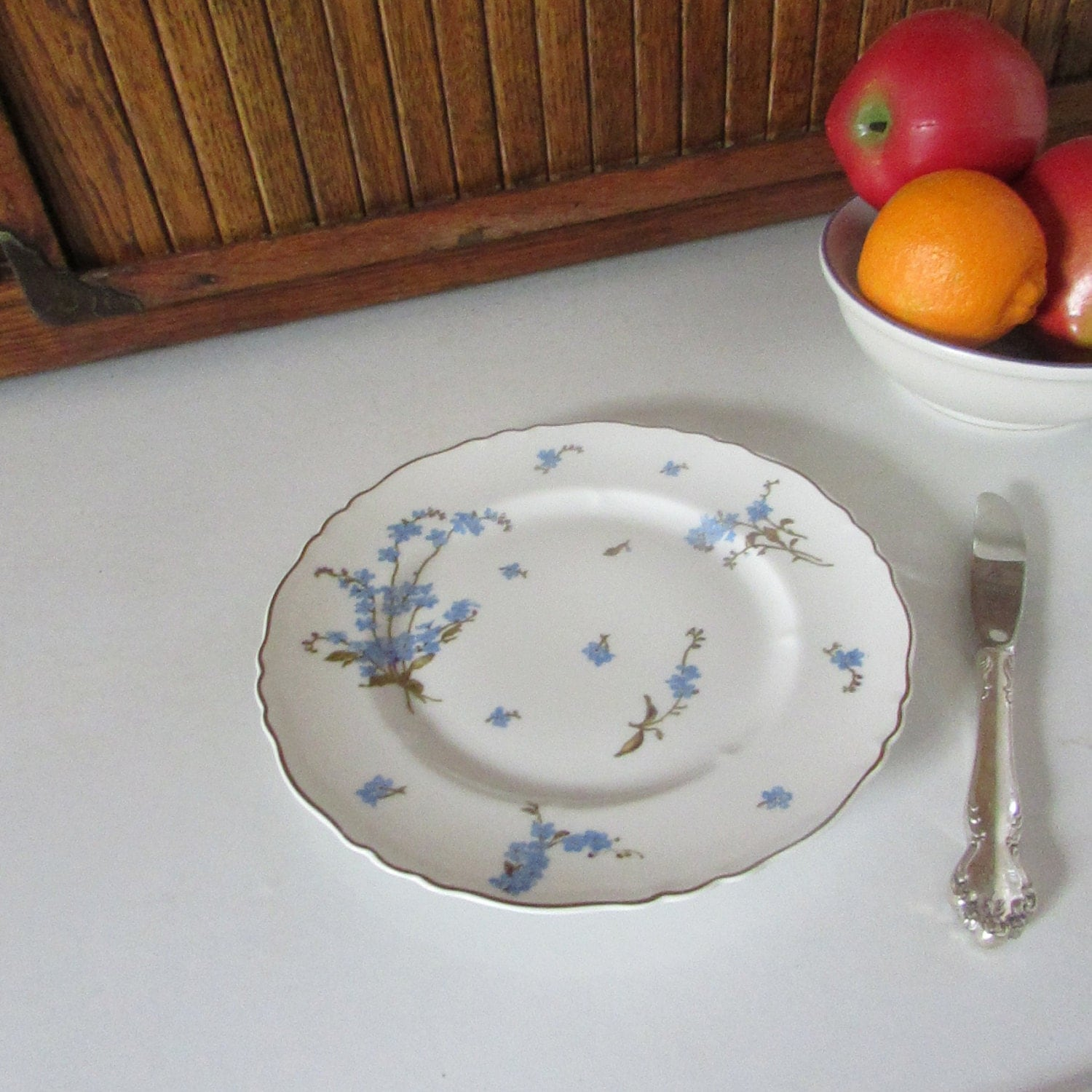 Haviland Montmery Luncheon Plate - Blue Forget-Me-Not Flowers on White Porcelain - & Haviland Montmery Luncheon Plate - Blue Forget-Me-Not Flowers on ...
