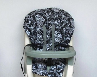Graco baby accessory cotton fabric high chair cover, replacement baby chair pad, baby feeding chair pad, kids chair, white bouquet on black