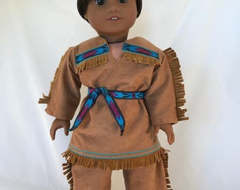 This 18 Inch Native American Boy Doll is an American Girl Doll With a New Wig and an Native American Costume OOAK