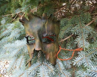 Tree Bark Split Leather Masquerade Mask