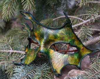 Autumn Oak Leaf Leather Masquerade Mask