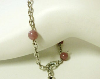 Purple jade and cross bracelet - CB05-010