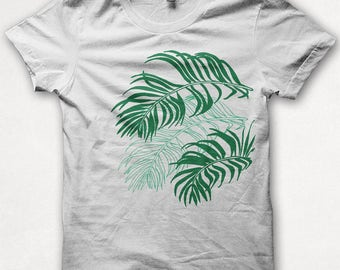 Womens Graphic Tee Shirt, Palm Leaves, Plant, Screenprint Tshirt, Graphic Tee For Women, Fitted Shirt - White