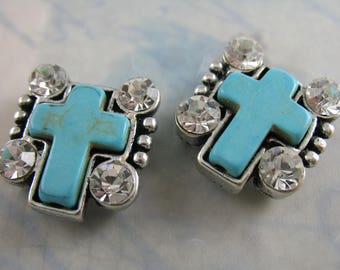 2 Cross Slide Beads Turquoise Colored Howlite Beads Religious Jewelry Supplies Southwest Bracelet Parts  M1