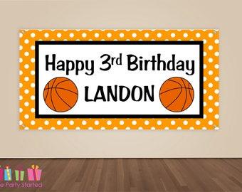 HAPPY BIRTHDAY Banner, Basketball Birthday Decorations, Basketball Party Backdrop, Sports Ball Party Banner, Boys Birthday, Vinyl Banner