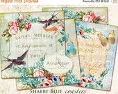 SALE 70% OFF - COASTERS Shabby Blue - 4 x 4 inch - set of 4 cards - Digital Download Sheet - Digital tags - Vintage Collage Images