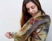"Nuno felted merino wool and eco print silk shawl  - ""Autumn song"""