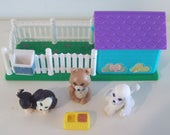 G1 Littlest Pet Shop Puppy Pals with Playhouse Vintage Kenner LPS