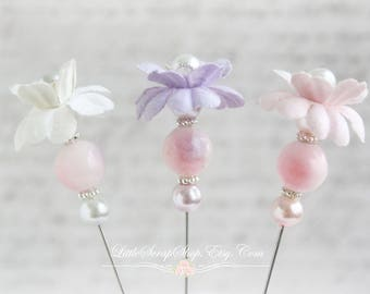 Floral Bonnet Stick Pins Scrapbooking , Cardmaking, Sewing, Wearables, Tag Art, Mini Album, LittleScrapShop