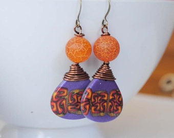 Purple Earrings, Teardrop Earrings, Orange Polymer Clay Earrings, Abstract Earrings, Colorful Earrings, Wire Wrapped Earrings