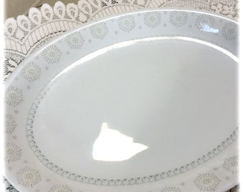 "Vintage Harmony House Snowflake China 14"" OVAL PLATTER, Atomic Era,  Christmas, Winter"