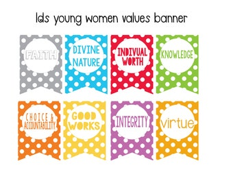 Latter Day Saints Young Women Values Banner Kit, Instant Download, Mutual Theme