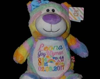 Bear Birth Announcement Baby Keepsake Plush Stuffed Animal Cubbie Personalized  Rainbow PASTEL