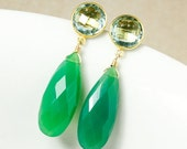 CHRISTMAS SALE Gold Teal Quartz & Green Chrysoprase Earrings - Teardrop Earrings