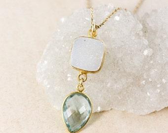 50 OFF SALE White Druzy and Teal Quartz Necklace – 14K Gold Filled