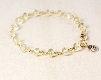 CHRISTMAS SALE Lemon Quartz Bracelet – Initial Charm