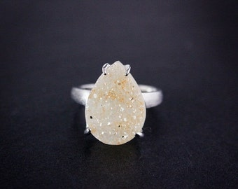 CHRISTMAS SALE Honey Teardrop Agate Druzy Ring - Choose Your Druzy - Sterling Silver