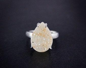 CHRISTMAS SALE Honey Teardrop Agate Druzy Ring - Choose Your Druzy - Sterling Silver