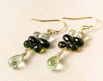 CHRISTMAS SALE Gold Green Tourmaline Cluster Earrings, Dangle Earrings, Natural Tourmaline, Tourmaline Teardrops