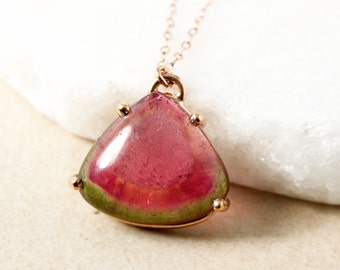Large Watermelon Tourmaline Necklace - Choose Your Tourmaline - Prong Set Tourmaline Pendant