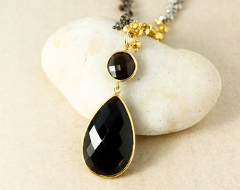 Gold Dark Smokey Quartz Teardrop Necklace - Pyrite Chain - Edgy, Layering Necklace