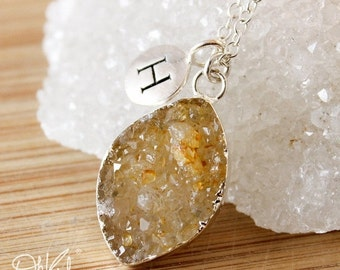 50 OFF SALE Druzy Leaf Necklace - Initial Charm Necklace -  Choose Your Druzy