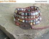 SALE 25% OFF Pomona Jasper Beaded Leather Wrap Bracelet