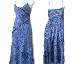 Slip Dress - Silk - Paisley - Blue - Tea Length - Sexy - Wedding - Pullover - Body Hugging - Designer - Feminine - Girly - Romantic - Size 8