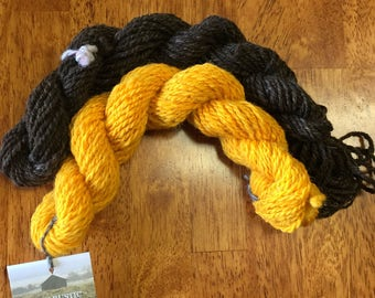 """Hand-Spun 100% Wool Yarns """"Buttercup and Brown"""" Hand-Washed, Carded, Spun, Natural Colored, 2 ply, Knit, Crochet, Weave, Worsted 124 yards"""
