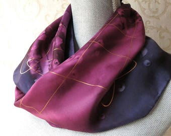 Handpainted Silk Scarf in Wine and Plum with Gold