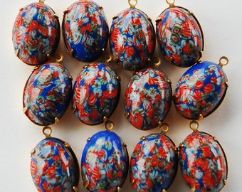 Vintage Millefiori Glass Oval Pendant Beads • 18x13mm • Blue Red
