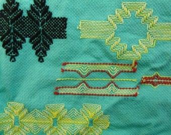 Vintage Huck Weaving Pattern Book and Sampler Scottish Terrier Swedish Embroidery