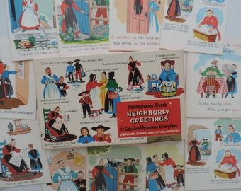 Pennsylvania Dutch greeting cards vintage novelty card collection funny humorous card assortment