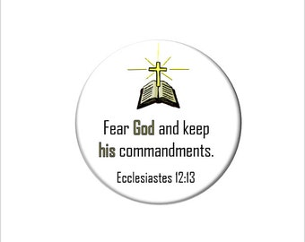 Ecclesiastes 12:13 Christian Bible Verse  Refrigerator Magnet Scripture Fridge Magnet Fear God and Keep His Commandments