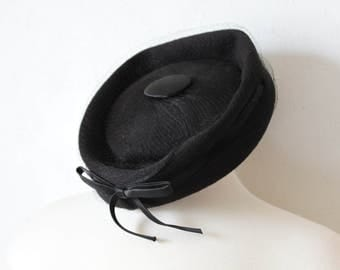 Vintage Black Wool Pillbox Hat with Veil