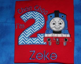 Choo Choo I'm 2 Train birthday tshirt or romper- any number you choose colors