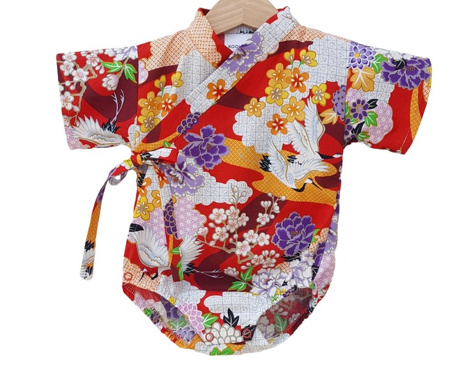 Floral Crane  Kimono Baby  - Japanese inspired baby outfit jinbei bodysuit