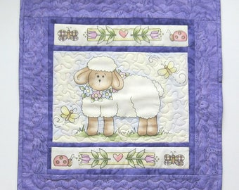 Easter Lamb and Flowers Table Topper Table Mat with Ladybug and Butterfly