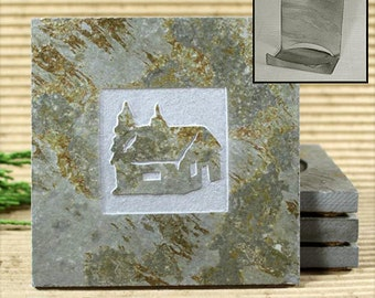 Cabin - Real Etched Slate Coaster Set with Holder