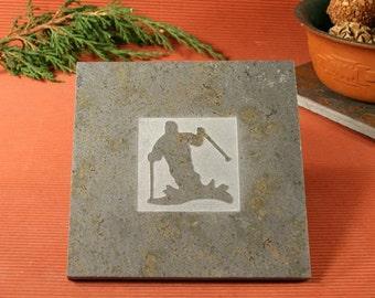 Slate Trivet / Hot Plate - Skier Sandcarved on Copper Slate