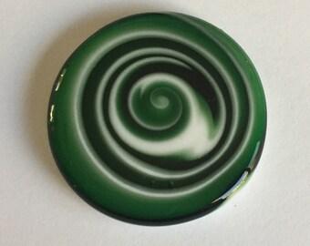 Flat Glass Cabochon - Green/White Swirls Handmade by Greg Hanson