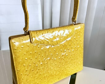 Vintage 1960's Cheery Yellow Faux Ostrich Patent Hand Bag -- Retro