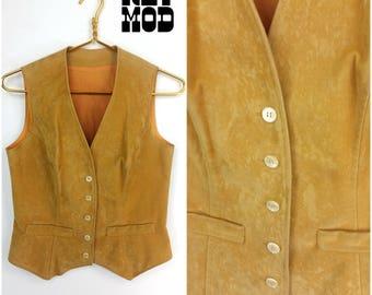 Super Soft Vintage 70s Boho Ultrasuede Velveteen Camel Vest Top!