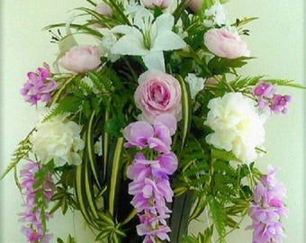 Pedestal, Urn, Wedding Tranquil Lavender, Roses, Lilies, Wisterias, Accents Silk Flowers Arrangement, Arbor, Alter, Church, Outdoor