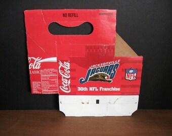Jacksonville Jaguars Coca Cola Cardboard Carton Carrier - 30th NFL Franchise