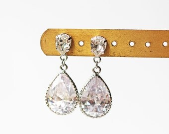 Swarovski Crystal Cubic Zirconia Titanium Wedding Earrings Silver Nickel Free Pear Shape