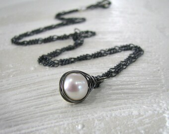 Pearl Necklace, Sterling Silver, White Pearl Necklace, White Black Necklace, Freshwater Pearl Necklace, June Birthstone Necklace - Cocoon