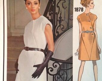 Vintage 60s Givenchy Dress Pattern 34 bust Vogue Paris Original 1878 Mod Asymmetric